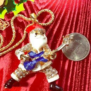 Betsey Johnson Santa Guitar Christmas Necklace 28